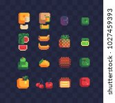 fruits pixel art icons set... | Shutterstock .eps vector #1027459393
