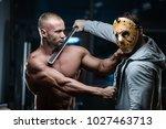 horror brutal jason mask man... | Shutterstock . vector #1027463713