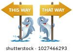 funny dolphin near the signpost.... | Shutterstock .eps vector #1027466293