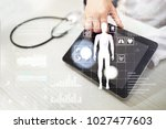 doctor using modern computer... | Shutterstock . vector #1027477603