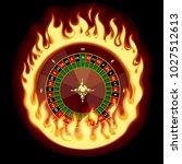 casino roulette wheel in fiery... | Shutterstock .eps vector #1027512613