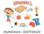 boy handball player  kids...   Shutterstock .eps vector #1027516123