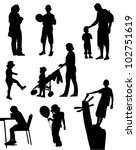 Collection of silhouettes of children and people on walk - stock vector