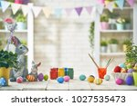 happy easter  background with... | Shutterstock . vector #1027535473