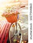 bike with basket of spring...   Shutterstock . vector #1027544863