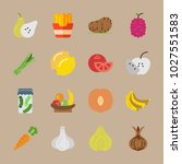 icons fruits and vegetables... | Shutterstock .eps vector #1027551583