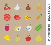 icons fruits and vegetables... | Shutterstock .eps vector #1027557277