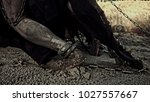 Small photo of Slavery. Wounded slaves in chains and fetters.