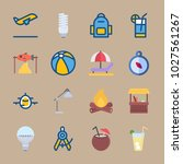icons beach and camping with... | Shutterstock .eps vector #1027561267