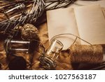 vintage composition with open... | Shutterstock . vector #1027563187