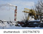 winter landscape with pipes and ... | Shutterstock . vector #1027567873