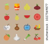 icons fruits and vegetables...   Shutterstock .eps vector #1027569877