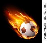 soccer ball in fire  hot... | Shutterstock .eps vector #1027570483