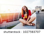 young attractive girl in... | Shutterstock . vector #1027583707