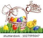 happy easter  basket  realistic ...