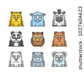 animals set  flat design. tiger ... | Shutterstock .eps vector #1027604623