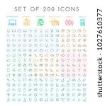 set of 200 minimal modern black ... | Shutterstock .eps vector #1027610377