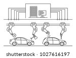 thin line style car assembly... | Shutterstock .eps vector #1027616197