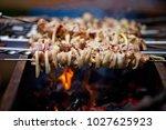 bbq meat prepare on fire  | Shutterstock . vector #1027625923