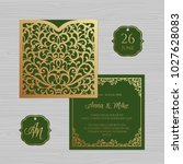 wedding invitation or greeting... | Shutterstock .eps vector #1027628083