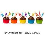 birthday cupcakes | Shutterstock . vector #102763433