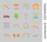 icons about amusement park with ... | Shutterstock .eps vector #1027640053
