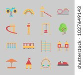 icons about amusement park with ... | Shutterstock .eps vector #1027649143