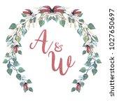 watercolor wedding wreath...   Shutterstock . vector #1027650697