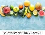 top view of different selected... | Shutterstock . vector #1027652923