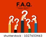 human hands holding question... | Shutterstock .eps vector #1027653463