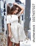 brunette hair woman wear... | Shutterstock . vector #1027657327