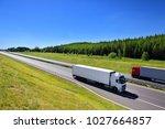 truck transportation on the road | Shutterstock . vector #1027664857
