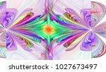 world through looking glass.... | Shutterstock . vector #1027673497