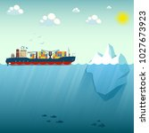 container ship near the iceberg....   Shutterstock .eps vector #1027673923