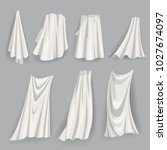 set of fluttering white cloths  ... | Shutterstock .eps vector #1027674097