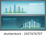 two city banners. day and night ... | Shutterstock .eps vector #1027676707