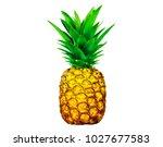 fresh pineapple on white... | Shutterstock . vector #1027677583