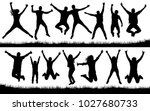 people jumping  friends man and ... | Shutterstock .eps vector #1027680733