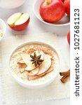diet healthy breakfast. oatmeal ...   Shutterstock . vector #1027681123