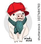 vector pig with red cap and... | Shutterstock .eps vector #1027684783