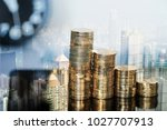 double exposure step of coins... | Shutterstock . vector #1027707913