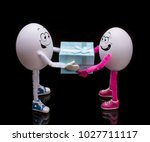 funny miniature easter egg boy... | Shutterstock . vector #1027711117