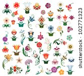 set of colored vector flowers | Shutterstock .eps vector #102771323