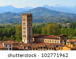 Lucca, Tuscany - View over Old Town (Italy) - stock photo