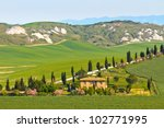 Typical Tuscany landscape view with villa (Crete Senesi region near Siena) - stock photo