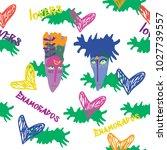 seamless vector pattern. funny... | Shutterstock .eps vector #1027739557