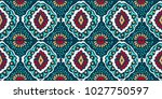 ikat geometric folklore... | Shutterstock .eps vector #1027750597