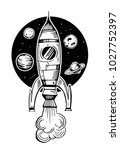 rocket with planets. hand drawn ... | Shutterstock .eps vector #1027752397