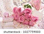 romantic bunch of pink roses... | Shutterstock . vector #1027759003