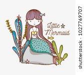 little mermaid on stone | Shutterstock .eps vector #1027769707